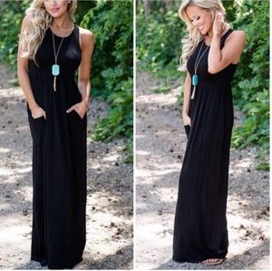 Dresses & Skirts - Black maxi knit womens casual dress